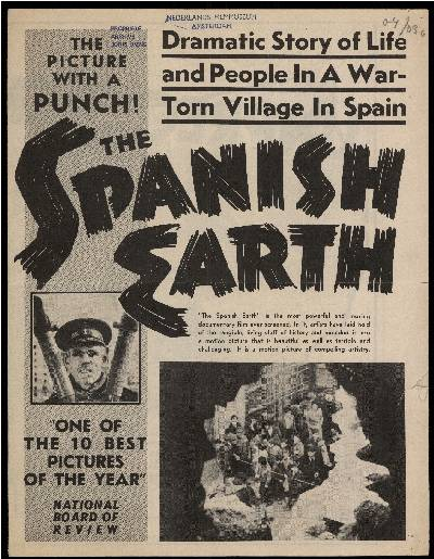 brief, publiciteitsfolder<br />The Spanish Earth